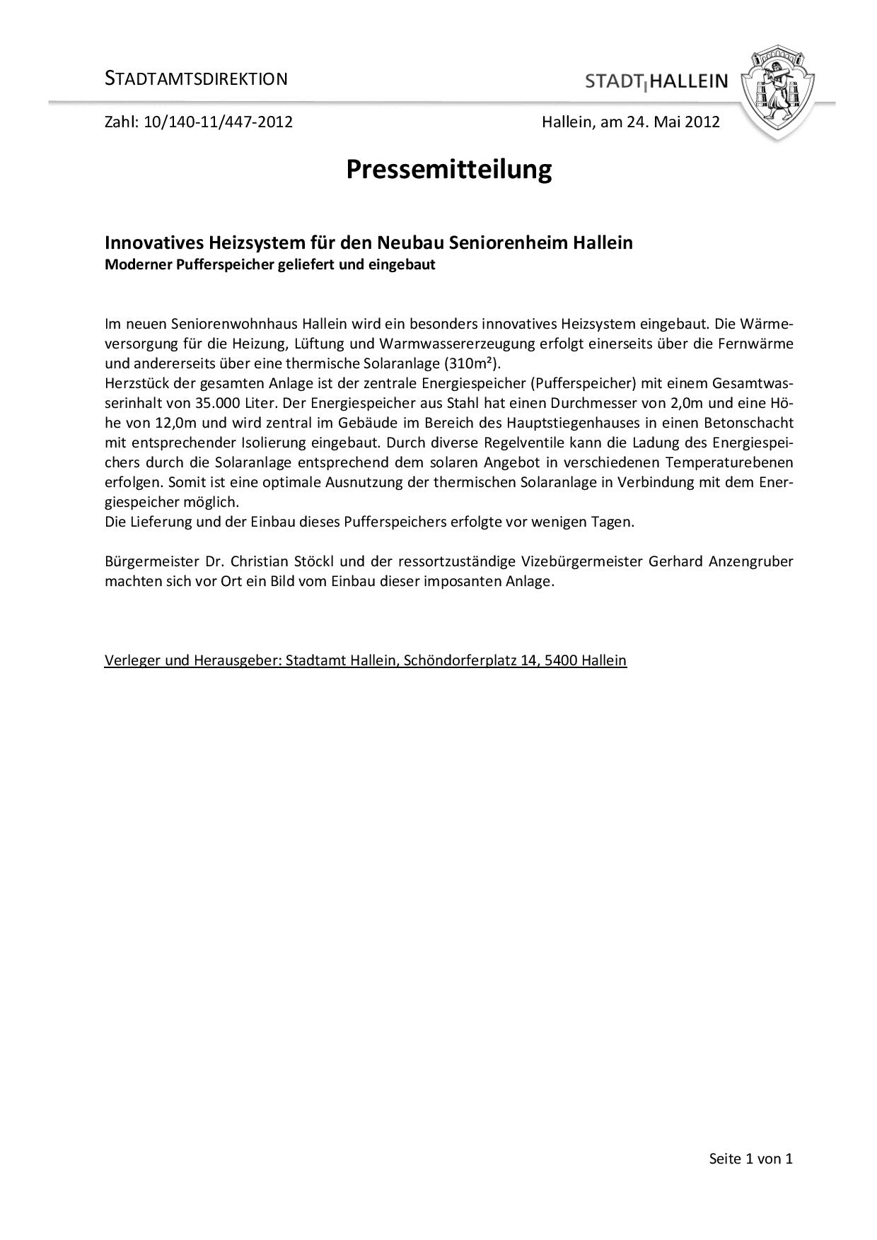Innovatives Heizsystem für den Neubau Seniorenheim Hallein - Hallein ...